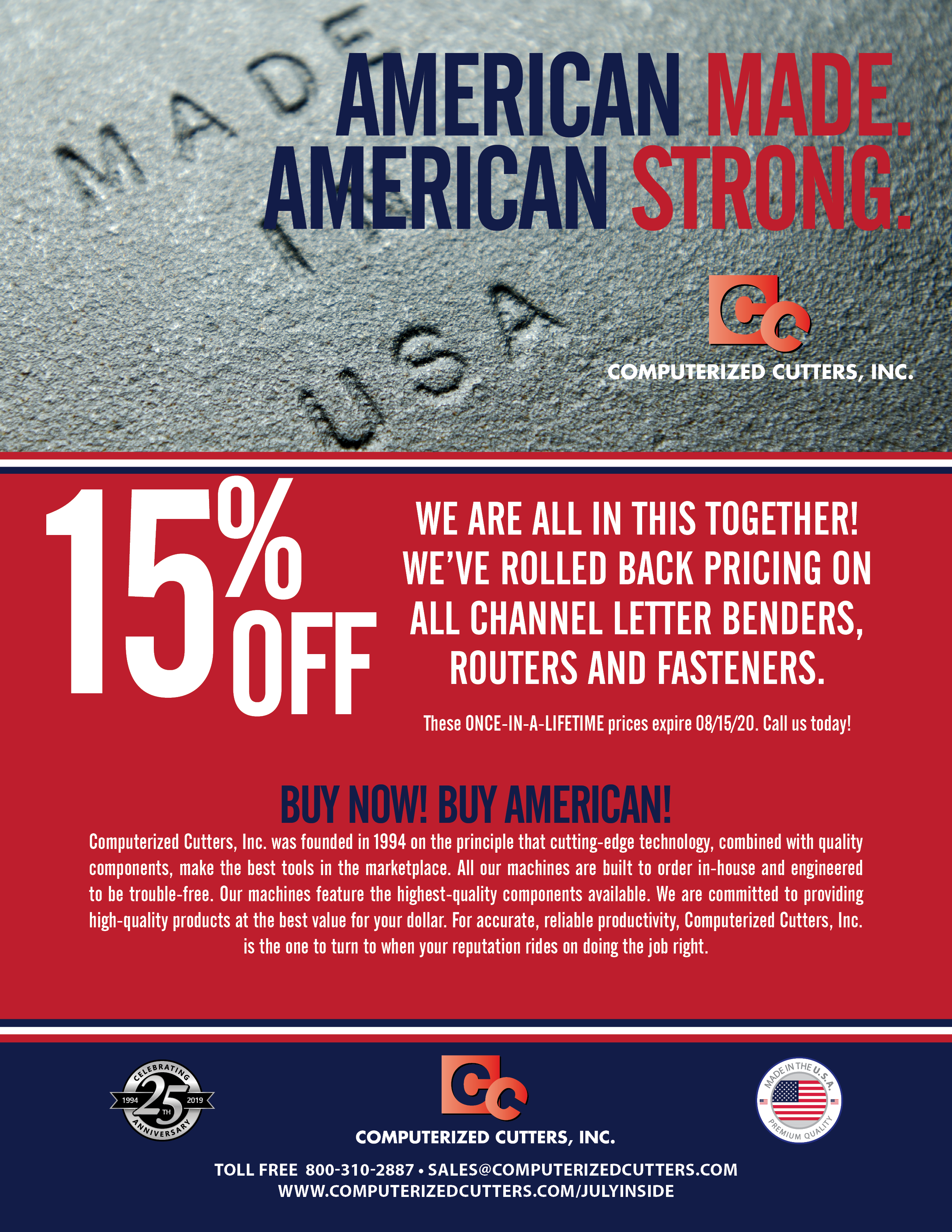 Computerized Cutters American Made American Strong 15% off Sale